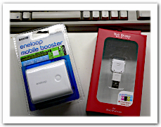eneloop mobile booster「KBC-L2S」と iPod用USB充電器コネクタ