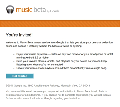 Google Music Beta 招待状