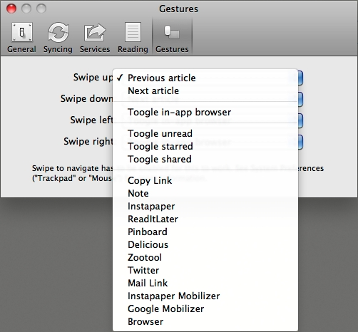 Reeder for Mac の Gestures
